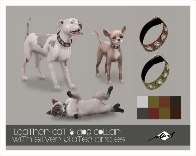 Leather Cat and Dog Collar with Silver Plated Circles by Daer0n