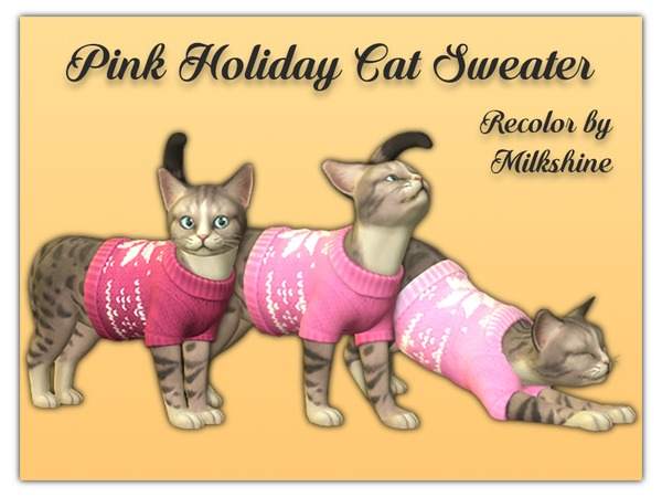 [Milkshine] Pink Holiday Cat Sweater