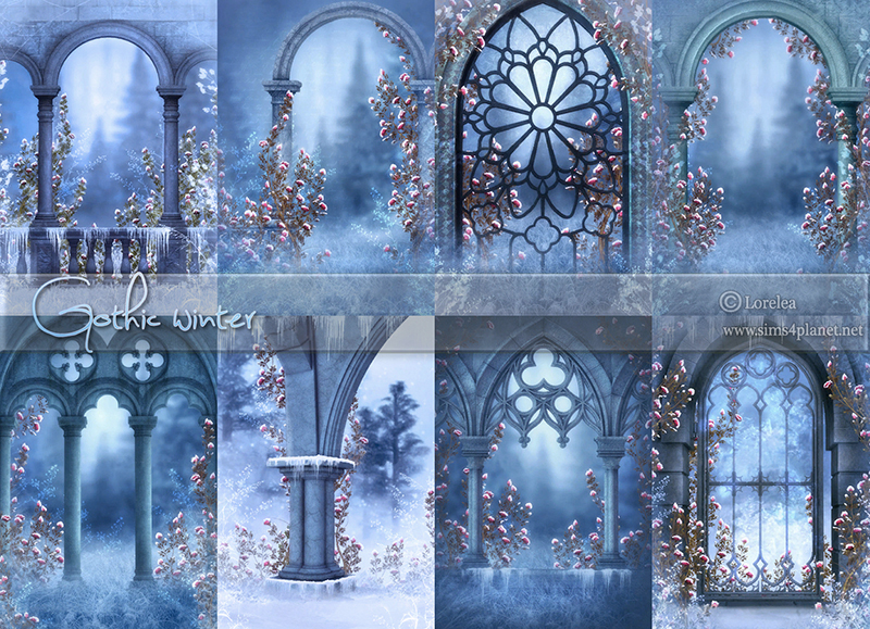 Gothic Winter Backgrounds by lorelea