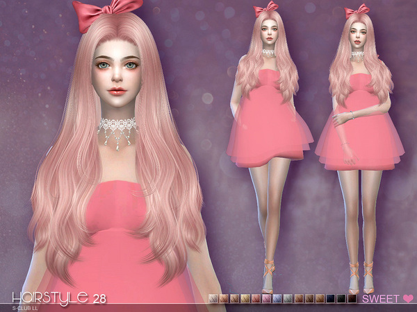 sclub ts4 hair Half Bun n28 by S-Club