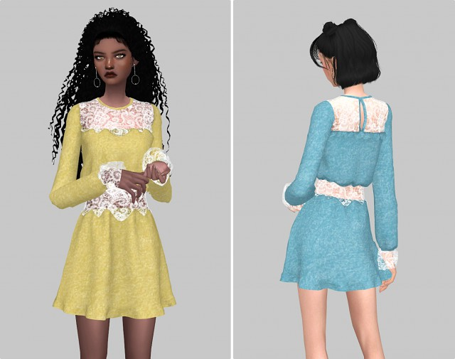 Lace part dress by amusims3