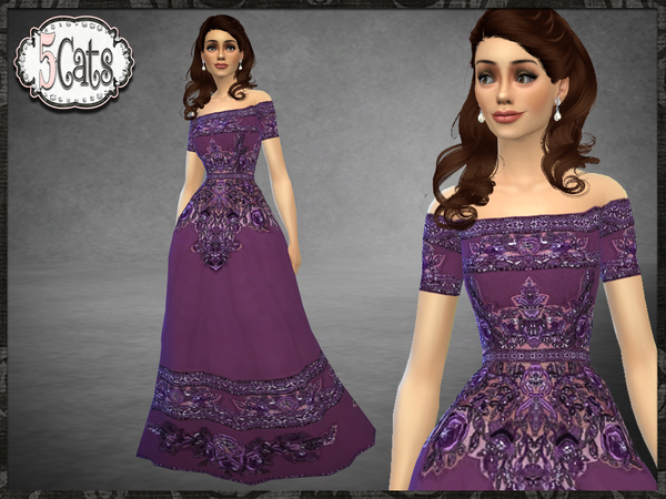 ZM Off the Shoulder Embroidered Gown by Five5Cats