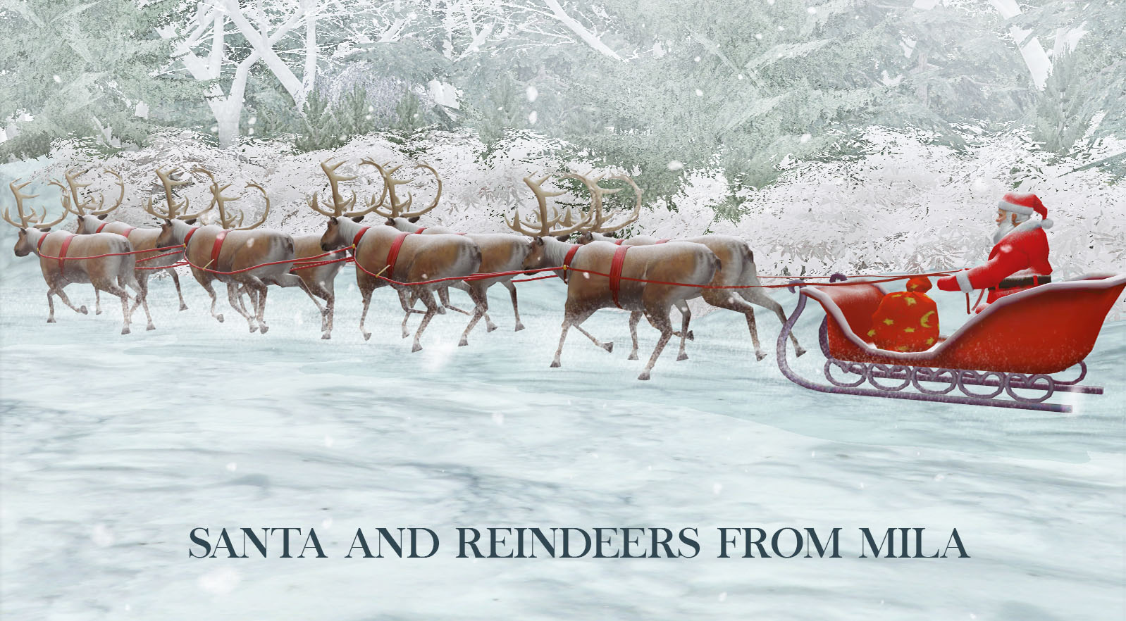Santa and Reindeers by Leo Sims