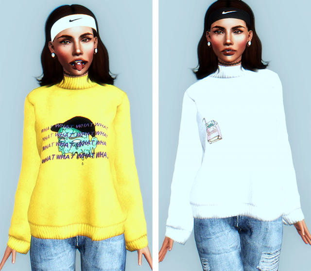 Print High Neck Pullover by DizzieSims