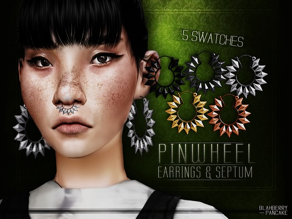 Pinwheel Earrings & Septum by Blahberry Pancake