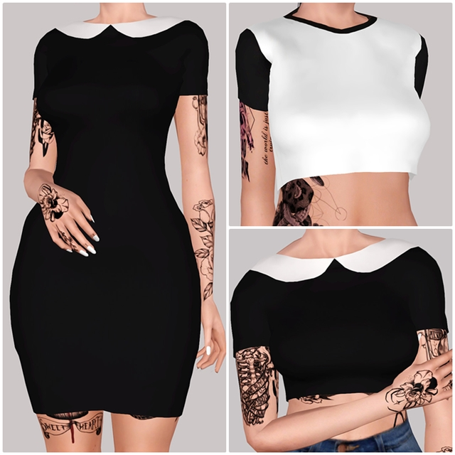 Addams Dress, Pen2Paper Crop & Addams Crop by Sthenosims