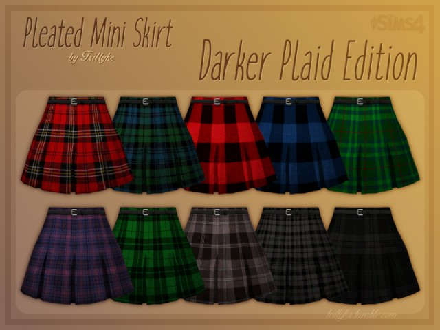Pleated Mini Skirt - Darker Plaid Edition by trillyke