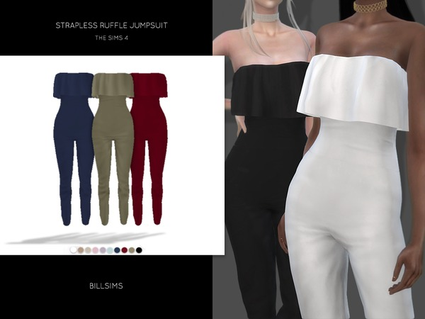 Strapless Ruffle Jumpsuit by Bill Sims