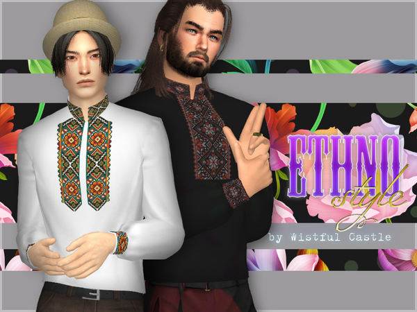 Ethno style - male shirt by WistfulCastle