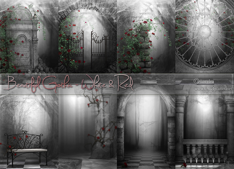 Beautiful Gothic - White & Red Backgrounds by lorelea