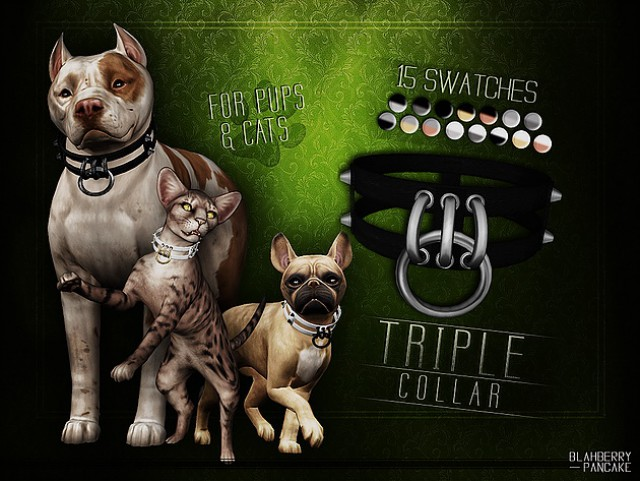 Triple Collar for pups & cats by Blahberry Pancake