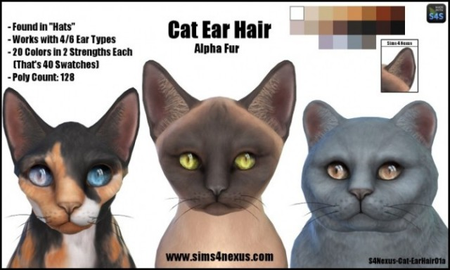 Cat Ear Hair by Sims4Nexus