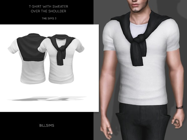 T-shirt With Over The Shoulder Sweater by Bill Sims