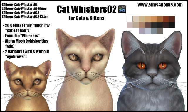 Cat Whiskers 02 by Sims4Nexus