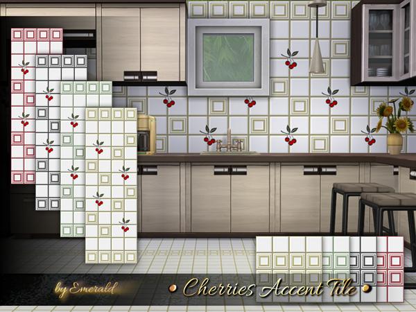 Cherries Accent Tile by emerald