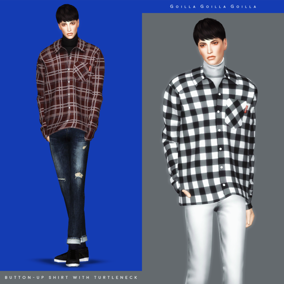Button-Up Shirt with Turtleneck by gorillax3