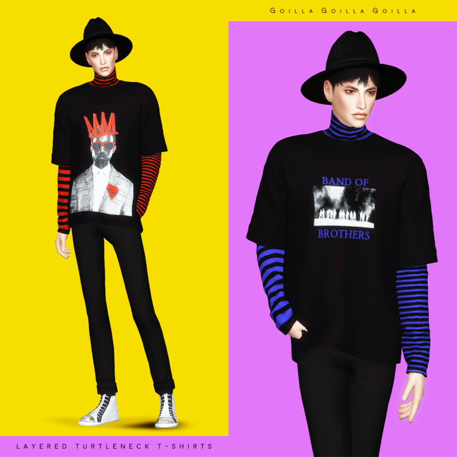 Layered Turtleneck T-Shirts by gorillax3