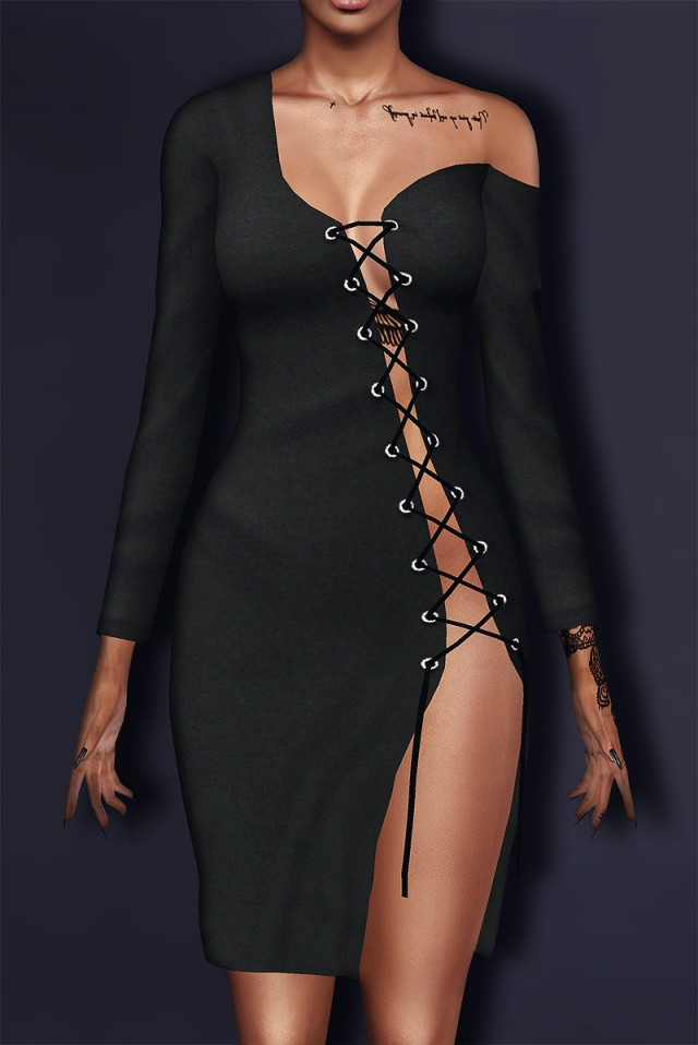 Shay Laced Up Long Sleeve Dress by SantosFashion