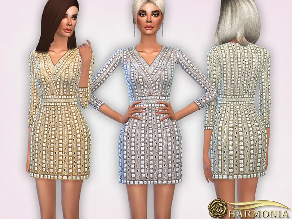 Embellished Beaded Cocktail Dress by Harmonia