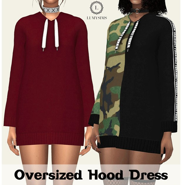 Oversized Hood Dress by Lumysims