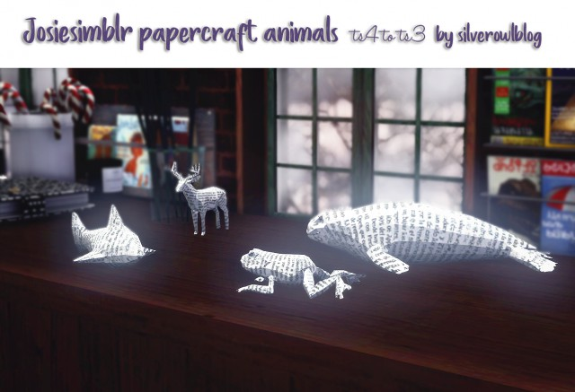 TS4 to TS3 What Remains of Edith Finch Papercraft Animals by silverowlblog