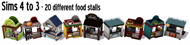 Sims 4 to 3 Food Stands by Sandy