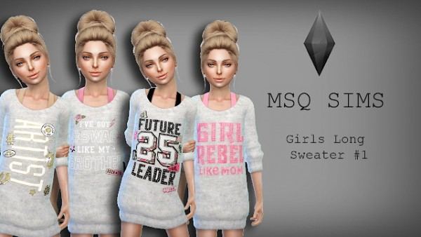 Girls Long Sweater 1 by MSQ Sims