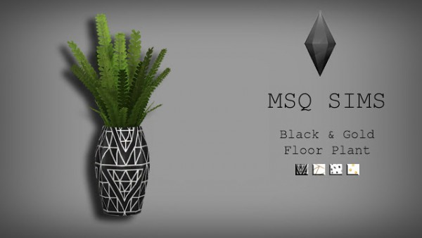 Black and Gold Floor Plant by MSQ Sims