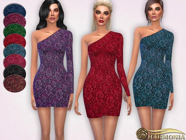 One-Shoulder Neckline Lace Dress by Harmonia