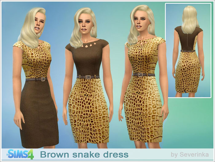 Brown snake dress by Severinka