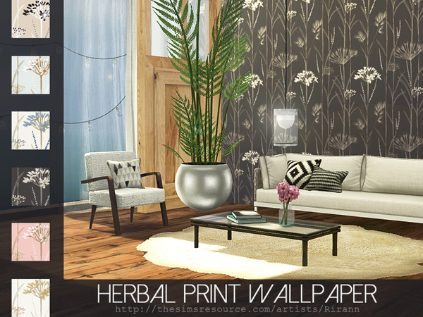 Herbal Print Wallpaper by Rirann