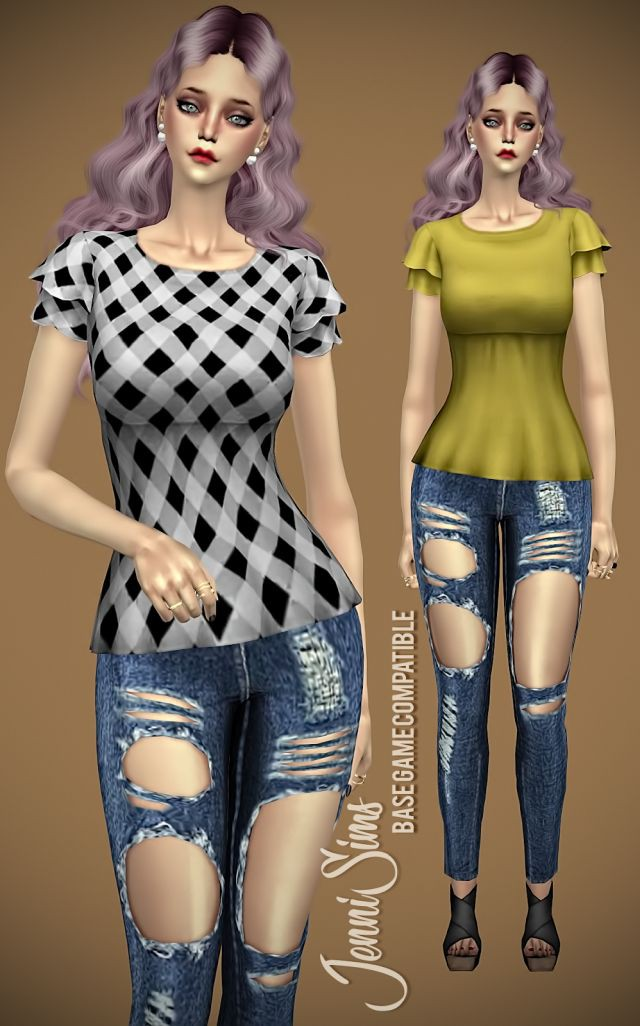 Base Game compatible Blouse Spring Kiss by JenniSims