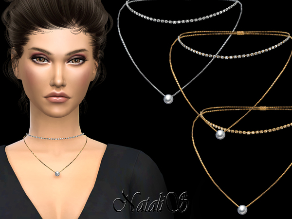 NataliS_Double necklace with crystals and pearl