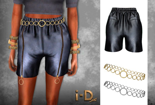 Leather Shorts Zipper Up by I-dsims