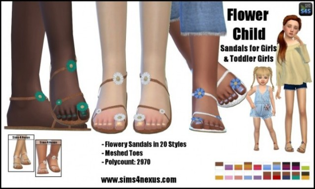 Flower Child sandals by sims4nexus