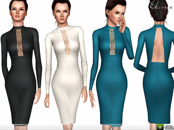 Mesh Insert Pencil Dress by ekinege