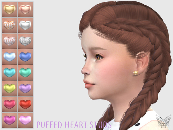 Puffed Hearts Studs For Kids by feyona