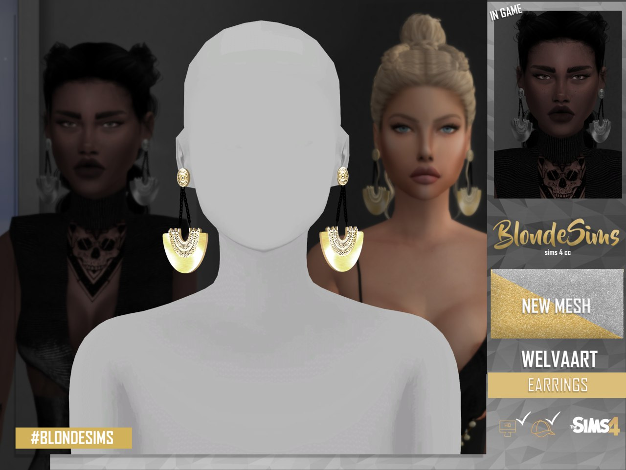 WELVART earrings by Blonde Sims