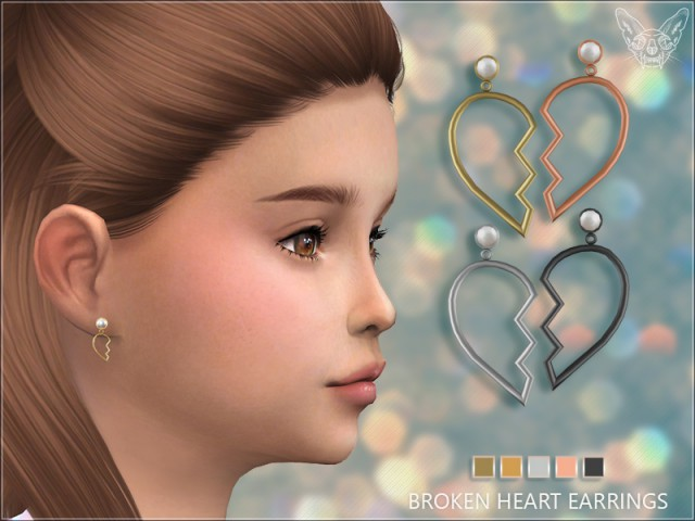 Broken Heart Earrings For Kids by GiuliettaSims
