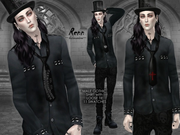RENN - Gothic Shirt with Loose Tie - MALE by Helsoseira