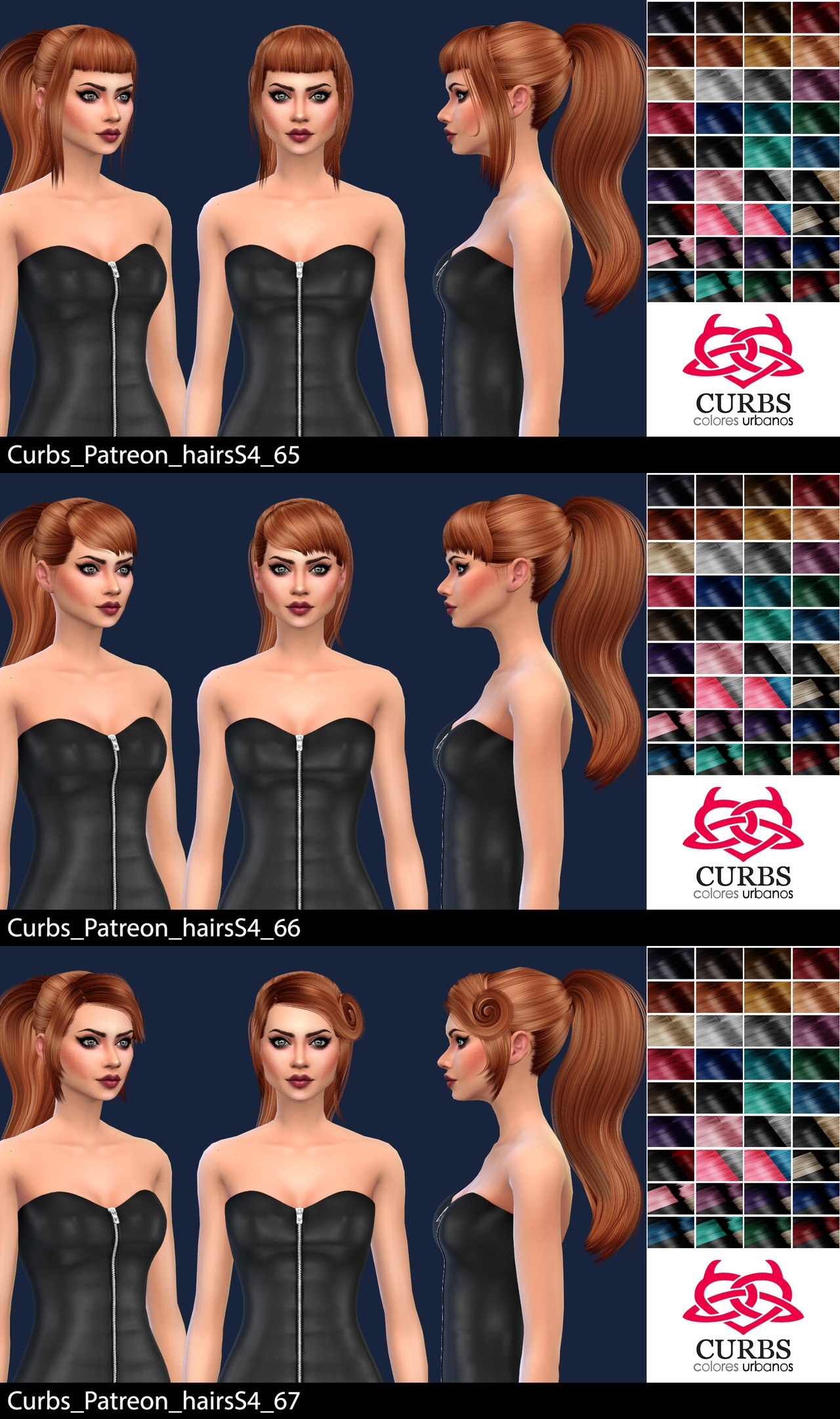 Patreon hairsS4 65, 66, 67 by Colores Urbanos