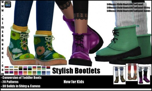 Stylish Bootlets For Kids by Sims4Nexus
