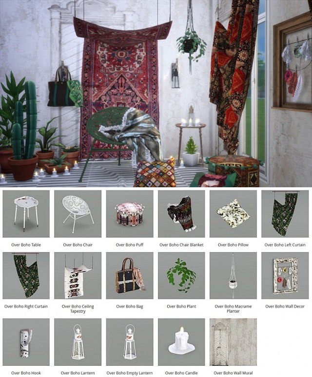 Overboho mix of modern and antique objects by Milla