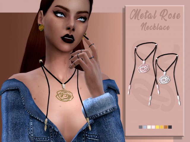 Metal Rose Necklace by bluerose-sims