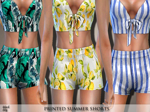 Printed Summer Shorts by Black Lily