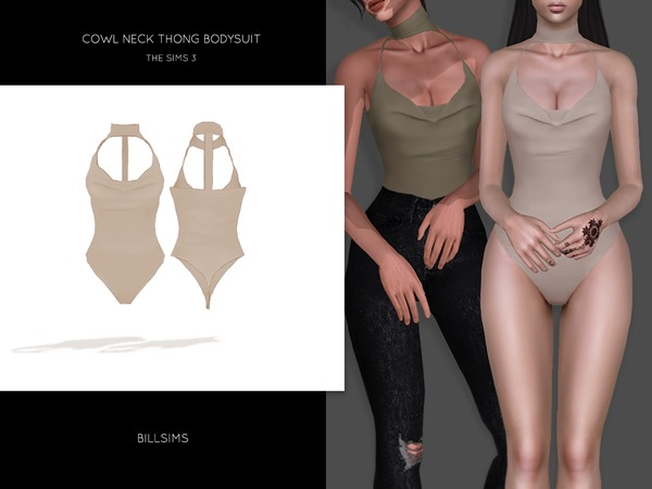 Cowl Neck Thong Bodysuit by Bill Sims