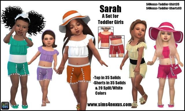 Sarah top & shorts for little girls by sims4nexus