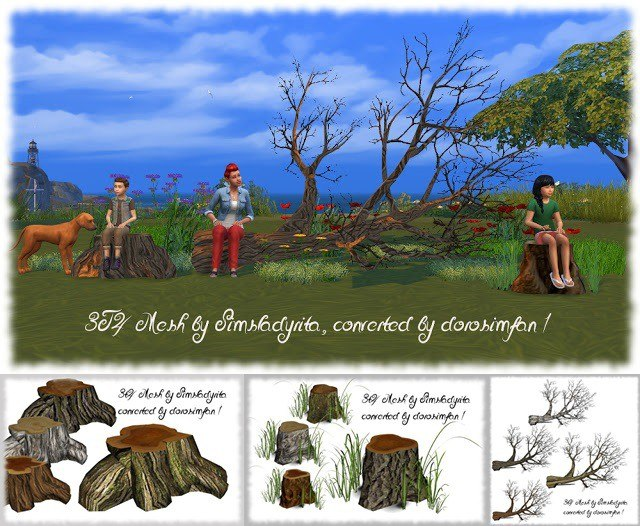 Tree trunks by Simsladyrita, converted to Sims 4 by dorosimfan1