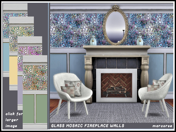 Glass Mosaic Fireplace Walls by marcorse