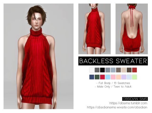 Мужское платье Backless Sweater by OBSIDIAN